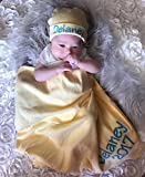 Personalized Baby Unisex Yellow Blanket and Hat Set