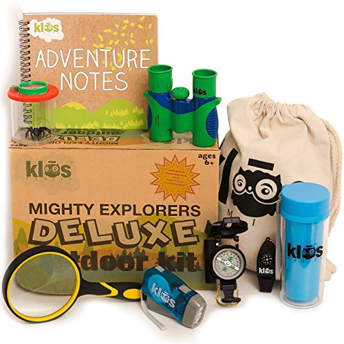 Deluxe Outdoor Kids Binoculars Exploring Set - 10 Gifts - Kid Proof Binoculars Flashlight Compass Magnifying Glass - For Fun Play - Bird Watching - Hunting - Enhanced Educational Learning for Children