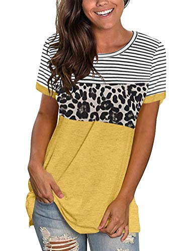 Uincloset Womens Leopard T Shirt Color Block Tees Striped Short Sleeve Round Neck Casual Tops
