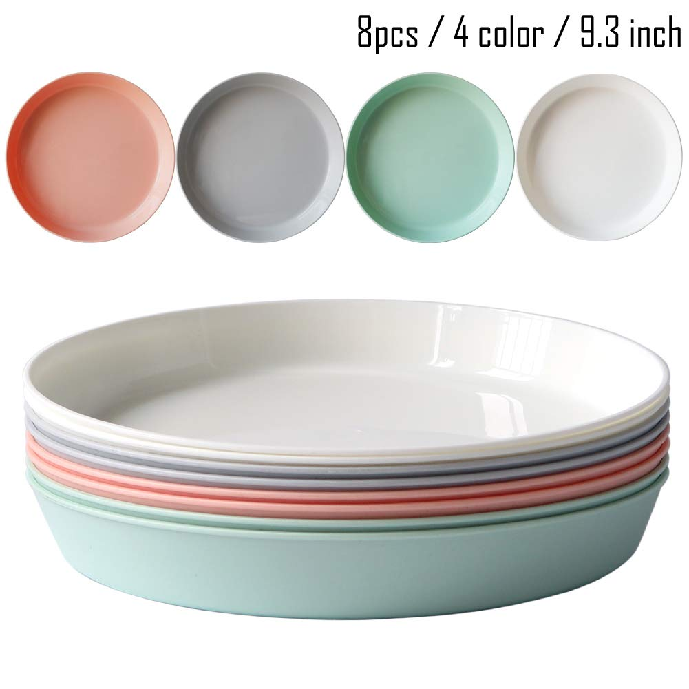 8pcs/9.3inch Dishwasher & Microwave Safe PP Plates - Lightweight & Unbreakable,Non-toxin, BPA free and Healthy for Kids Children Toddler & Adult