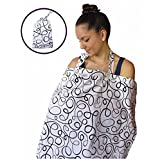 Nursing Cover for Breastfeeding Privacy EXTRA WIDE for Full Coverage - Breathable 100% Cotton, Stylish and High Quality - AZO Free (Black/White)