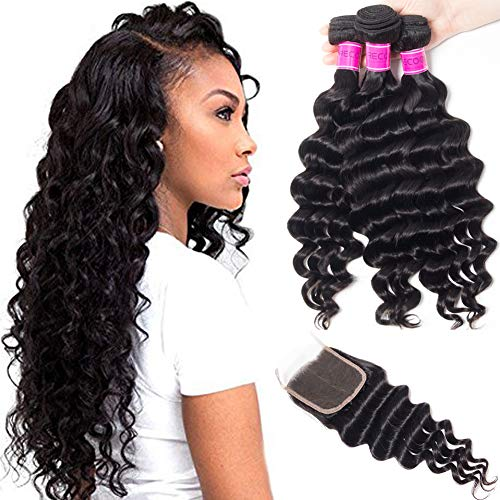 RECOOL 10A Brazilian Hair Loose Deep Wave Bundles with Closure Unprocessed Virgin Human Hair Ocean Wave Natural Color Real Good Quality Hair(18 20 22+16)