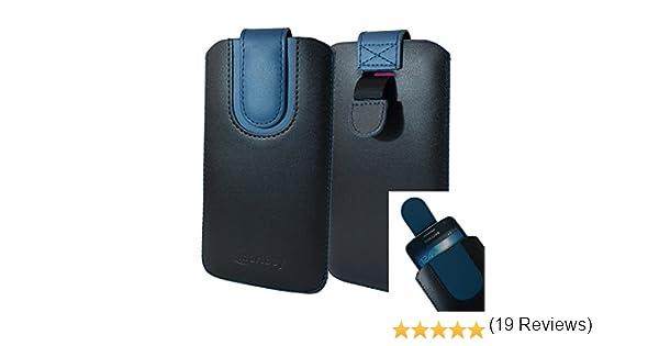 Emartbuy Negro/Oscuro Azul Premium PU Cuero De La Diapositiva En ...