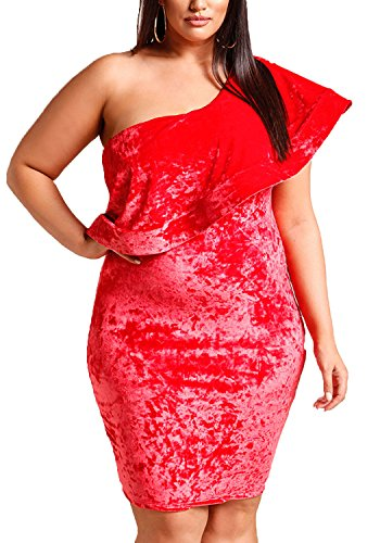 Velvet Size Dress Bodycon Red Voluminous Debshops Plus Womens Party Crushed Shoulder One E7v0qvw