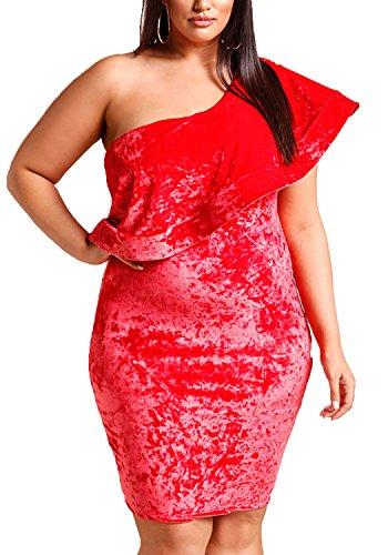 Velvet Size Dress Bodycon Red Voluminous Debshops Plus Womens Party Crushed Shoulder One E7v0qvw