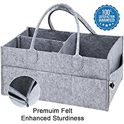 PeekaBaby Upgraded Baby Diaper Caddy Organizer - Extra Sturdy, Large Portable Nappy Bag, Nursery Storage Bin, Car Travel Organizer, Toy Container - Perfect Baby Shower Gift for Women and Men