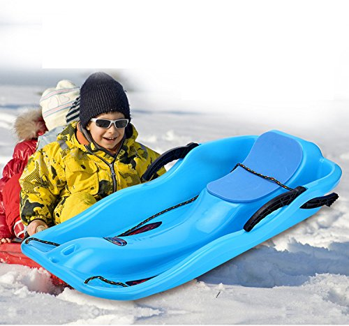 Unichart Snow Sled for Kids/Adult, Outdoor Grass Skiing, Winter Toboggan, Sky Blue