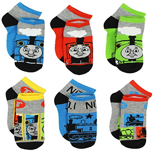 Thomas Train Boys 6 pack Socks (4-6 Toddler (Shoe: 7-10), Thomas Grey/Multi)