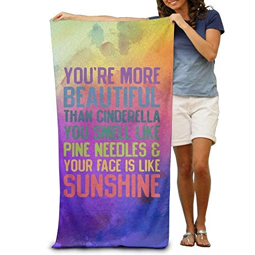 QIZI Super Cozy and Highly Functional and Durable, Easy Care Machine Wash Beach Towel Wxf You're More Beautiful Bridesmaids Quote Soft Fast Drying Beach Towel Pool Towel31x51 Inches