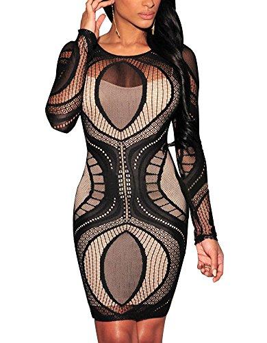 Cfanny Women's Lace Nude Illusion See Through Sleeves Bodycon Dress,Black,XXL (Sexy Plus Dress)
