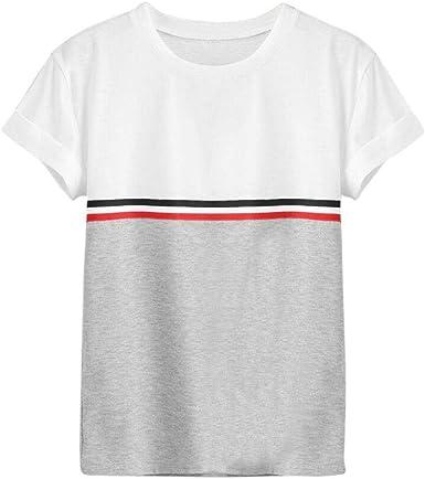 Mujer Camiseta Fashion Casual Verano Elegante Manga Cuello Camisas Redondo Ropa Festiva Corta Rayas Empalme Slim Fit Moda Joven Shirts Blusa: Amazon.es: Ropa y accesorios