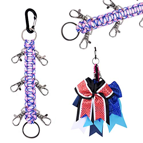 DEEKA Paracord Handmade Cheer Bows Holder for Cheerleading Teen Girls High School College Sports - Pink/White/Royal Blue Camo