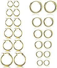 ZesNice 12 Pairs Small Hoop Earrings Set for Women Men Girls Gold 316L/Stainless Steel Kpop Cartilage Earring