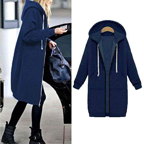 Hoodies Zip Up Size Women's Outerwear Casual Jacket Coat Hooded Sweatshirt Blue Tops Plus Pockets Gallery Long Your Azw6q5I8n