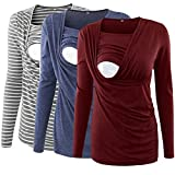 Ecavus 3 Packs Women's Ruched Side-Shirred Nursing Top Breastfeeding Tee Shirt