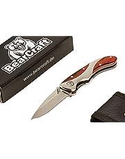BearCraft Taschenmesser mit 2 Echtholz-Einsätzen am Griff   Scharfes Outdoor Klappmesser in Modernem Design