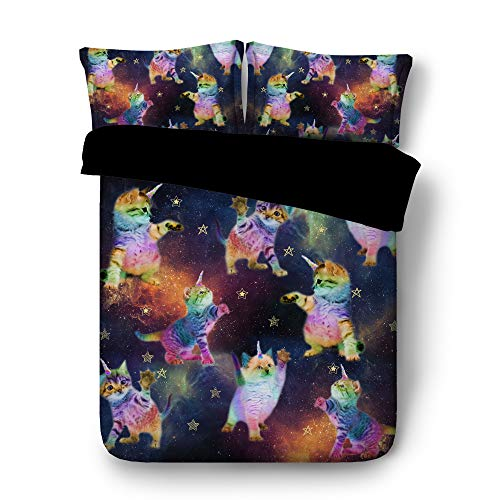 Royal Linen Source Drop Shipping 3PCS Galaxy Unicorn Cats Touching The Stars 3D Kids Bedding Set Twin Full Queen King Size (JF598, Twin)