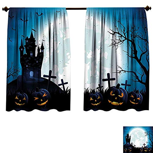 Blackout Living Room/Bedroom Window Curtains Halloween ations Spooky Concept with Halloween Icons Old Celtic Harvest Festival Figures in Dark Image Blue Blackout 2 Panels (W55 x L63 -Inch 2 -