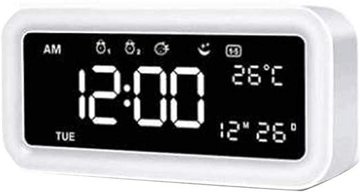 DZXYW Reloj Despertador Espejo LED Reloj Despertador Reloj de Mesa ...
