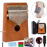 Mbira Kalimba 17 Key Thumb Piano Finger Piano Likembe Sanza karimba Mahogany with Padded Gig Bag Tuner Hammer By Kmise