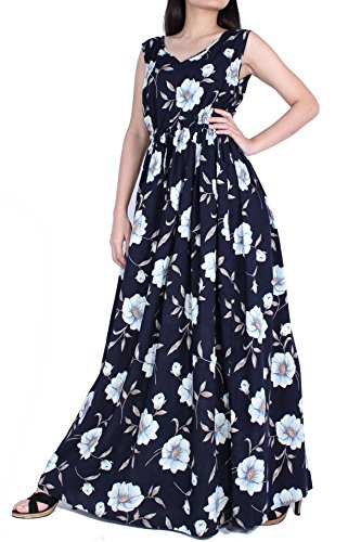 MayriDress Dress Summer Beach Party Graduation Long Fancy Sundress Casual Maxi With Pockets (1X-Long 57 Inch, Navy Blue/Floral) (Fancy Dress For Womens Ideas)
