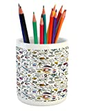 Ambesonne Educational Pencil Pen Holder, Science School Pattern with Formulas Laboratory Elements Physics Mathematics, Printed Ceramic Pencil Pen Holder for Desk Office Accessory, Multicolor