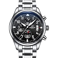 Swiss Brands Aviator Military Watch Mens Stainless Steel Case Sapphire Glass Waterproof Quartz Watch (Silver)
