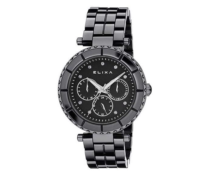 Reloj multifunción Elixa Mujer Watch de cerámica Black Dial e077-l281 € 339,00: Amazon.es: Relojes