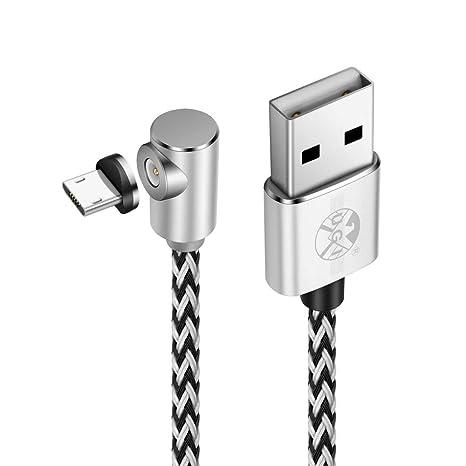 Cable en Forma de L Cable Micro USB magnético,Trenzado de Nylon Cargador en ángulo Recto DE 90 pies Cable de 3.3ft/6.6ft/10ft con Conector de Metal ...