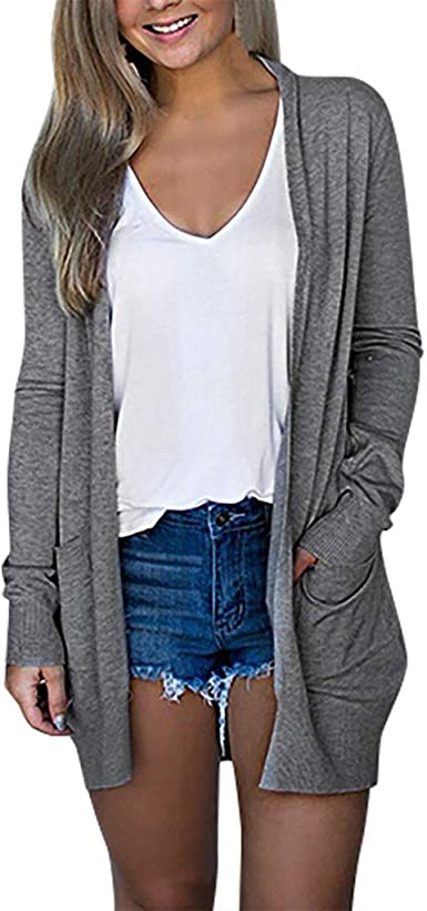 Cardigan Mujer Verano Camisa Blusa Manga Larga Mujer Largo Playa Camisetas de Fiesta Blusas Largas Chal Flojo Chaqueta Punto Cardigans Mujer Otoño Invierno De Punto Frente Abierto con El Bolsillo: Amazon.es: Ropa