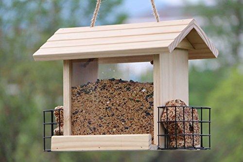 Gardirect Deluxe Wooden Wild Bird Feeder with Suet Baskets (12.6