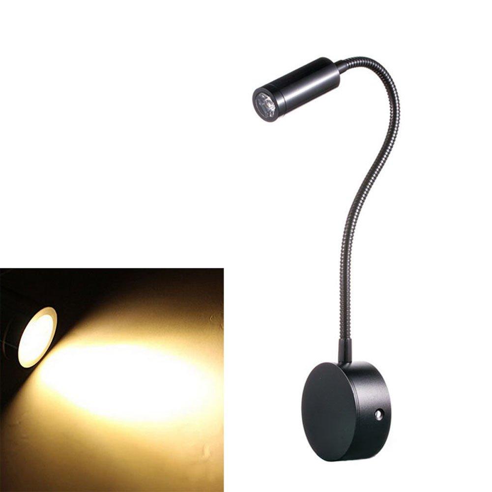 Lznlink Flexible Gooseneck Arm Bedside Reading Light 3W LED Wall Light, Built-in Wall Sconces for Bedroom Art Gallery Display Reading Room