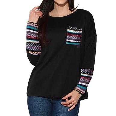 9bc4cd3e47 Amazon.com  Dimanul Women Long Sleeve Blouse Sweatshirt Pullover Casual  Tops Shirt Women s Patchwork Loose T-Shirts Plus Size  Clothing
