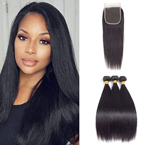 - Fashion Vila Straight Hair 3 Bundles with Closure,(18 20 22 +16