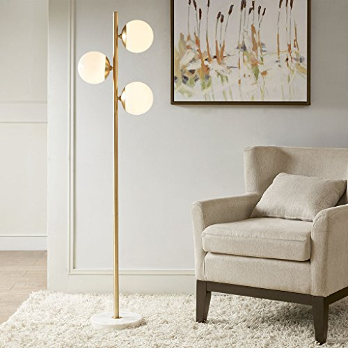 Madison Park Signature MPS154-0087 Holloway Floor Lamp - Modern Luxe Accent Furniture Décor Lighting for Living Room Metal Two-Tone Uplight, White Round Shades and Base, 62
