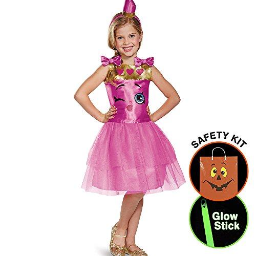 [Shopkins Lippy Lips Classic Girls Costum Halloween Trick or Treat Safety Kit Medium] (Halloween Costums For Kids)