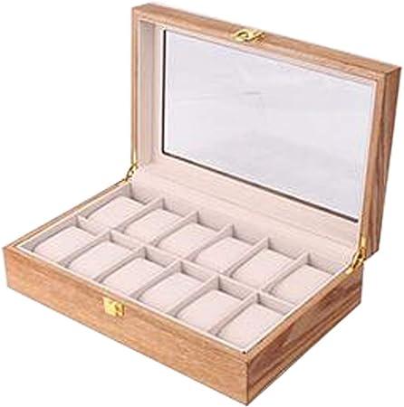 DPPAN Caja de Relojes Estuche Madera 12 Slot, Organizador de Relojes con Almohada Extraíble Hebilla Metálica y Tapa de Vidrio, para Hombres,B: Amazon.es: Hogar