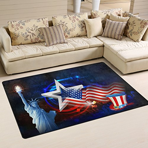 Multicolor American Flag 4th of July Independence Day Statue of Liberty Stars Area Rug Pad Non-Slip Kitchen Mat for Living Room Bedroom 3'3″x5′ Doormats Home Decor Review