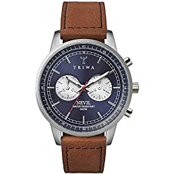 Triwa Nevil Blue Steel Men's Chronograph Watch Brown Leather Strap with Blue Stitching NEST108 SC010216