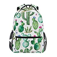 MAHU Backpack Watercolor Tropical Cactus Pattern Adults School Bag Casual College Bag Travel Zipper Bookbag Hiking Shoulder Daypack for Women Men
