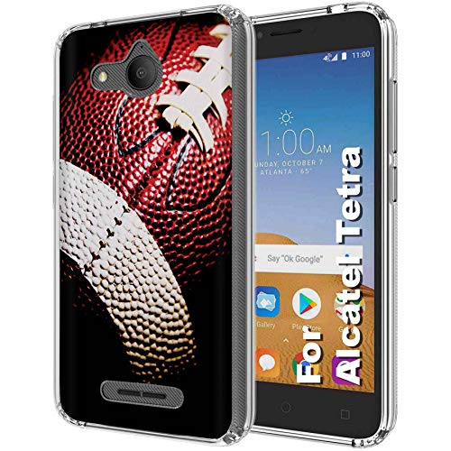 [Naked Shield] Alcatel Tetra [Clear] Slim Flex Gel Skin Case Feature Light Weight, Enhanced Grip Design TPU Case for Tetra from AT&T, Cricket [Football Print], Designed in USA