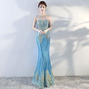 24c1404fa JKJHAH Vestido De Noche Banquete Vestido De Cola De Pez Vestido Elegante   Amazon.es  Deportes y aire libre