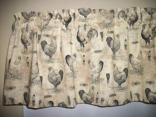 French Country Rooster Chicken farm kitchen farmhouse Tan fabric curtain topper Valance