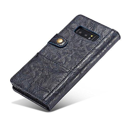 Grandcaser Funda para Samsung Galaxy Note 8,Rugged Armor Premium Cuero Book Style Protectora Flip Wallet Billetera Carcasa con Porta Tarjetas y Ranura Case Cover - Marrón Azul