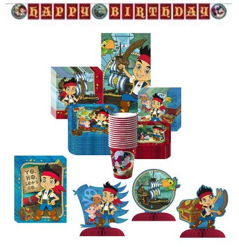 Jake & the Neverland Pirates Deluxe Party Supplies Pack Including Plates, Cups, Tablecover, Invitations, Plastic Banner, Centerpiece and Napkins- 16 Guest