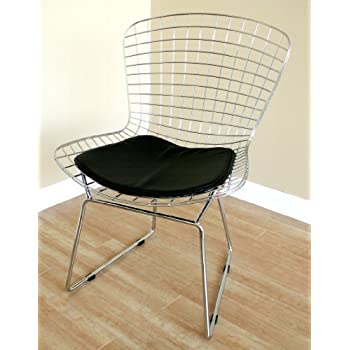 Awesome ChromeSteel/blackpad Bertoia Wire Side Chair With Leatherette Seat Pad By  Wholesale Interiors