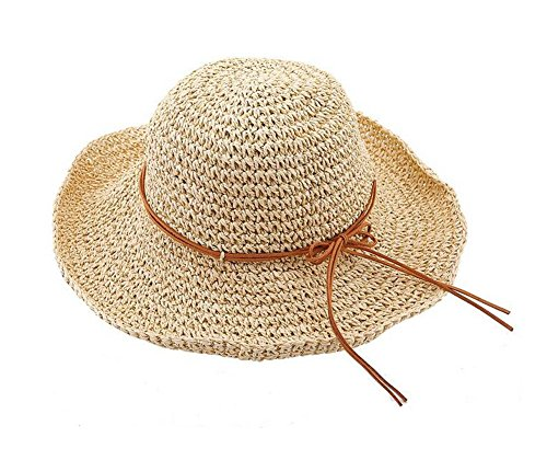 Glamorstar Women's Summer Beach Cap Foldable Braid Sun Straw Hats Rice