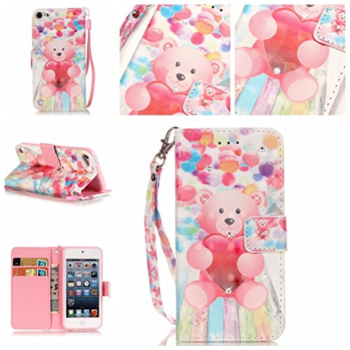 iPod Touch 6 Case, Ngift [Balloon Bear] Inlaid Shiny Diamond Leather Folio Wallet Flip Case Cover [Kickstand Feature] Wallet Cover for Apple iPod Touch 5/Touch 6