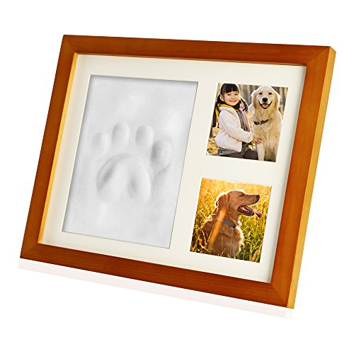 Paw Prints Photo (Zexmte Pet Paw Print Keepsake Photo Frame Dogs and Cats Paw Memorial Clay Imprint Kit with Room Wall or Table Decor–Best Unique DIY Gift)