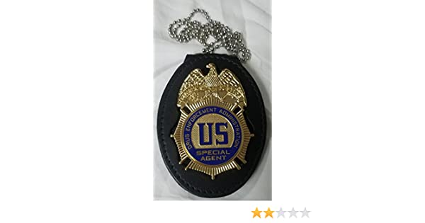 "Drug Enforcement Administration /""DEA/"" Recessed Badge Cut Out Neck Hanger"